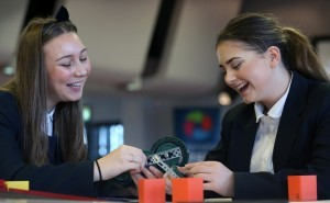 Mersey Stem Robotics Challenge Grand Final held at Aintree Racecourse. Eight schools made it through to the final with Hillside High School coming out victorious! Pictured are the winning team celebrating Sam Zhen Joseph Leatherbarrow Logan Burke and Harry Naylor Images by Gareth Jones